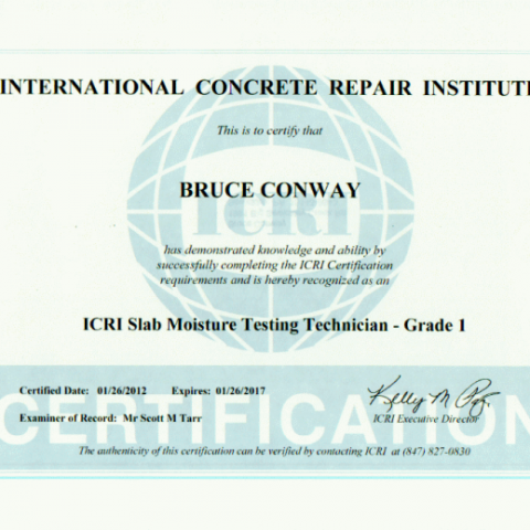 ICRI Slab Moisture Testing Technician - Grade 1