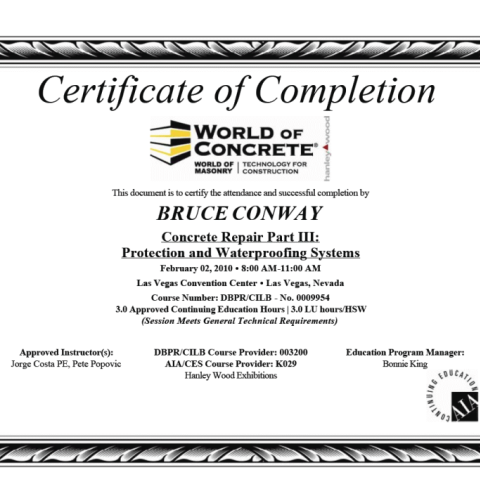 Concrete Repair Part III: Protection and Waterproofing Systems