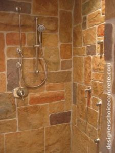 Decorative concrete in shower stall
