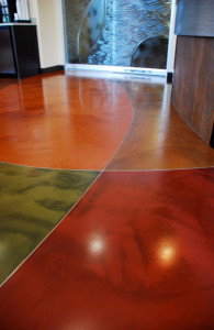 muli-color, decroative concrete floor overlay